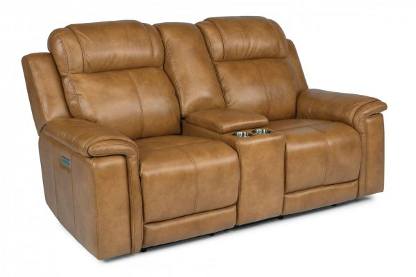 Large image of Flexsteel Kingsley Leather Power Reclining Loveseat With Console & Power Headrests - 1128-64PH-295-72