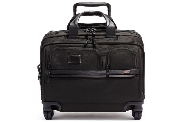 Large image of TUMI Alpha 3 Black Deluxe 4 Wheeled Laptop Case Brief - 117158-1041