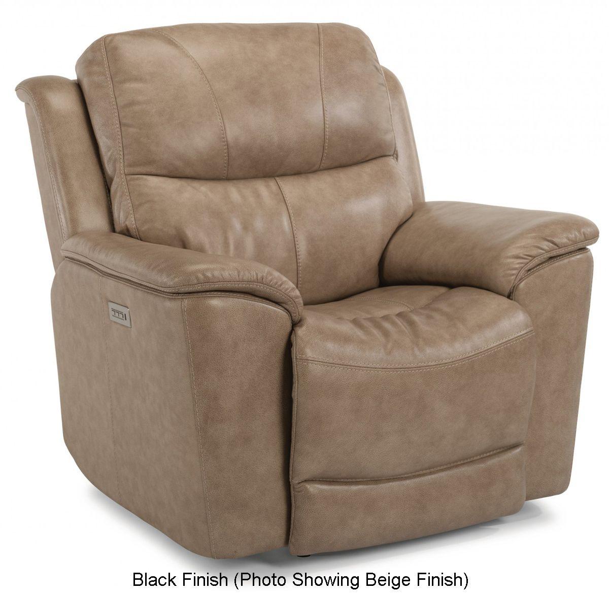 Wondrous Flexsteel Black Cade Leather Power Recliner With Power Headrest Machost Co Dining Chair Design Ideas Machostcouk