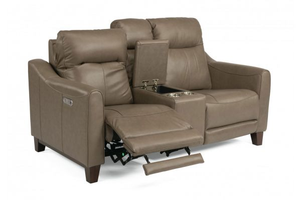 Large image of Flexsteel Forte Leather Power Reclining Loveseat With Console & Power Headrests - 1197-64PH-282-80