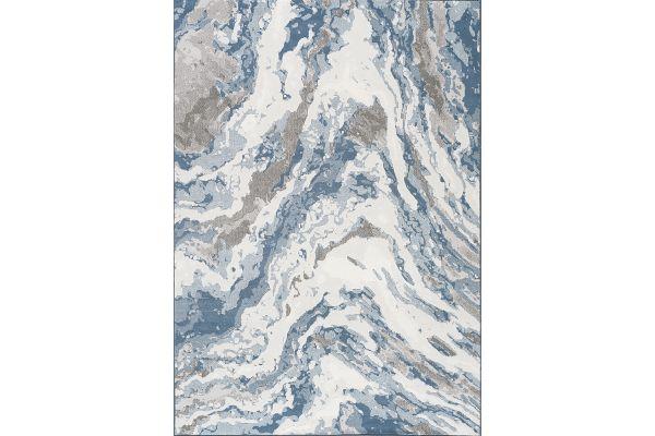 "Large image of Kalora Intrigue 5'3"" X 7'7"" Beige/Blue/Cream Rushing Water Rug - 12194/505 160230"