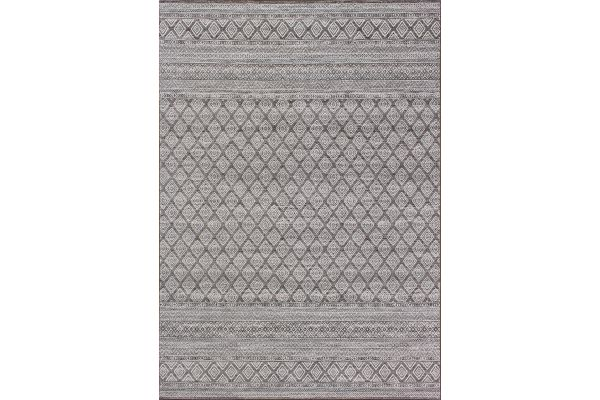 "Large image of Kalora Intrigue 7'10"" X 10'10"" Grey Cream Trellis Banding Rug - 12253/920 240330"
