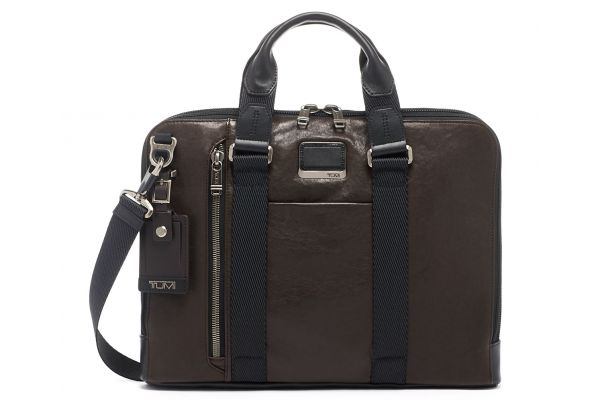 Large image of TUMI Alpha Bravo Dark Brown Smooth Leather Aviano Slim Brief - 1258901251