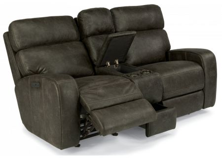 Flexsteel Grey Tomkins Fabric Power Gliding Reclining Loveseat With Console & Power Headrests - 1326-64PH-167-02