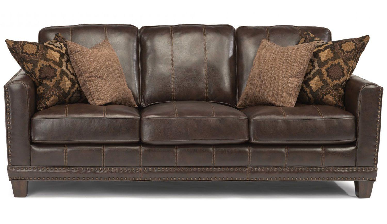 Superb Flexsteel Port Royal Brown Leather Sofa Evergreenethics Interior Chair Design Evergreenethicsorg