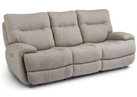 Flexsteel Grey Power Reclining Sofa With Power Headrests - 1446-62PH-495-02