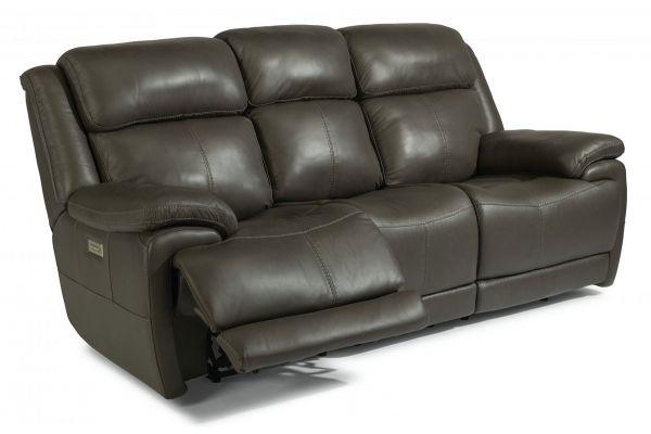 Large image of Flexsteel Elijah Leather Power Reclining Sofa With Power Headrests & Lumbar - 1465-62PH-326-70