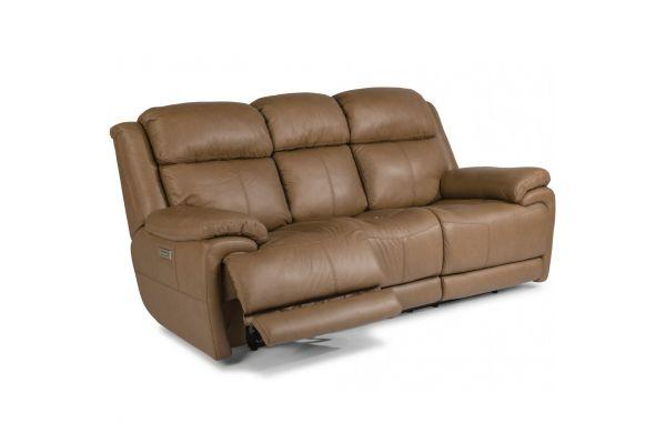 Large image of Flexsteel Elijah Leather Power Reclining Sofa With Power Headrests & Lumbar - 1465-62PH-326-74