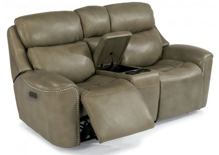 Flexsteel Mystic Leather Power Reclining Loveseat With Power Headrests - 1471-64PH-014-15