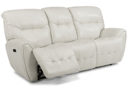 Flexsteel Light Grey Blaise Leather Power Reclining Sofa With Power Headrests - 1573-62PH-014-19