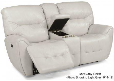 Flexsteel Dark Grey Blaise Leather Power Reclining Loveseat With Console & Power Headrests - 1573-64PH-014-07