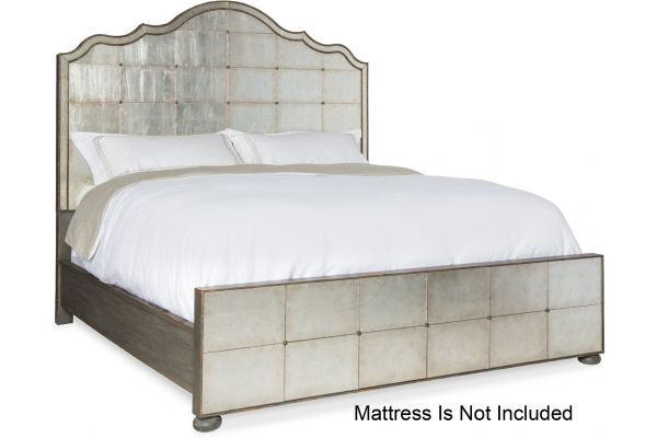 Large image of Hooker Furniture Bedroom Arabella King Mirrored Panel Bed - 1610-90166-EGLO