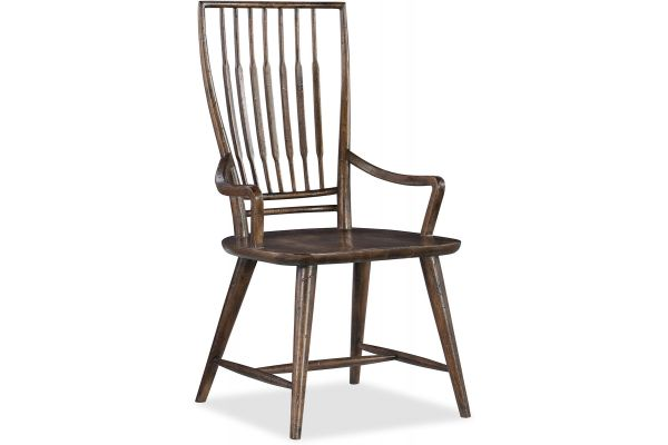 Large image of Hooker Furniture Dining Room Roslyn County Spindle Back Arm Chair - 1618-75300-DKW