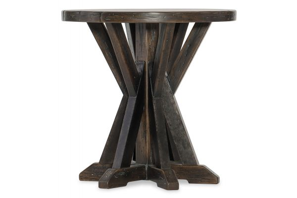 Large image of Hooker Furniture Roslyn County Dark Walnut Round Lamp Table - 1618-80115-DKW