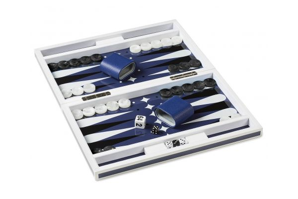 Aurosi Lacqure Luxury Backgammon Set In Blue And White - 1637A