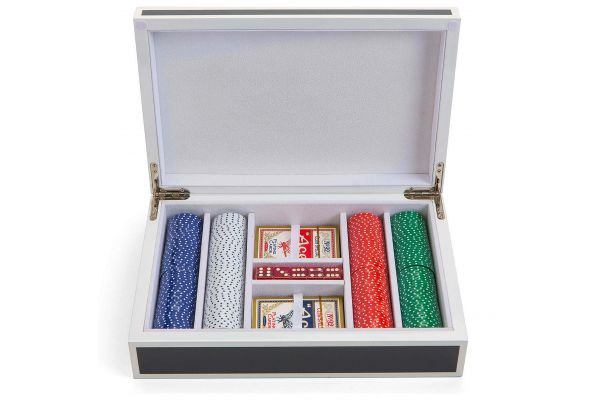 Aurosi Luxury Lacquer Poker Set In Grey And White - 1646A