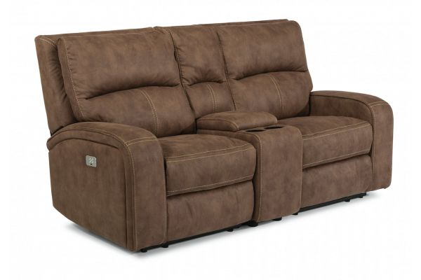 Large image of Flexsteel Nirvana Saddle Fabric Power Reclining Loveseat With Console And Power Headrests - 1650-64PH-136-72