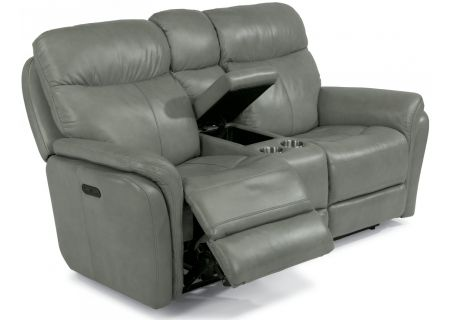 Flexsteel Light Grey Zoey Leather Power Reclining Loveseat With Console - 1653-64PH-360-01