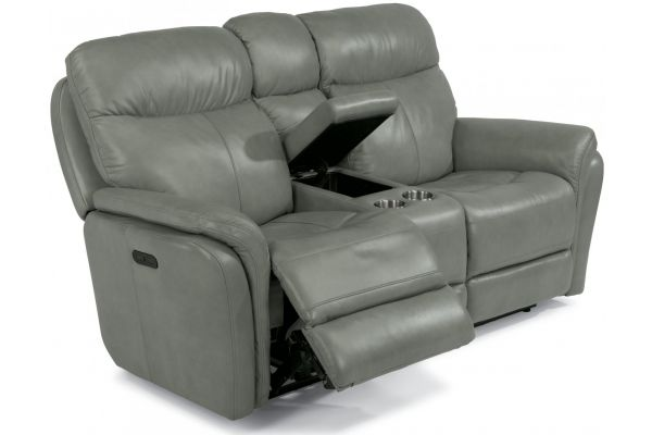 Large image of Flexsteel Zoey Leather Power Reclining Loveseat With Console & Power Headrests - 1653-64PH-360-01