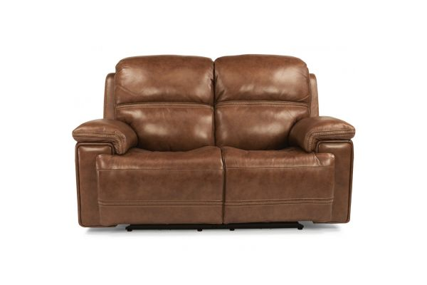 Large image of Flexsteel Fenwick Leather Power Reclining Loveseat With Power Headrests - 1659-60PH-204-72