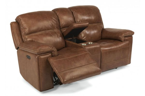 Large image of Flexsteel Fenwick Fabric Power Reclining Loveseat With Console & Power Headrests - 1659-64PH-204-72