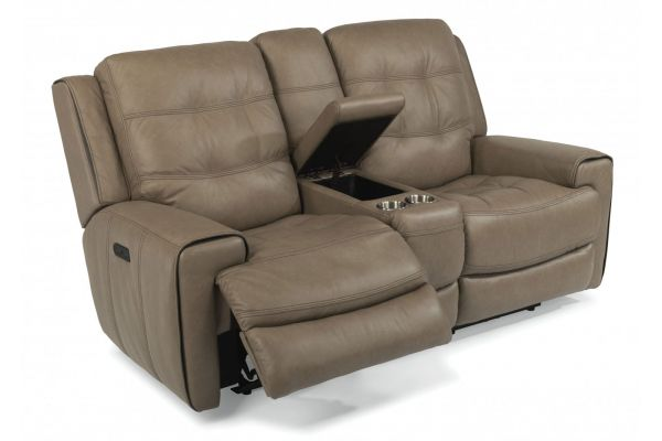 Large image of Flexsteel Wicklow Leather Power Reclining Loveseat With Console & Power Headrests - 1681-64PH-326-82