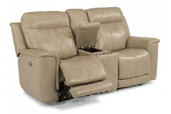 Large image of Flexsteel Miller Leather Power Reclining Loveseat With Console & Power Headrests & Lumbar - 1729-64PH-204-80