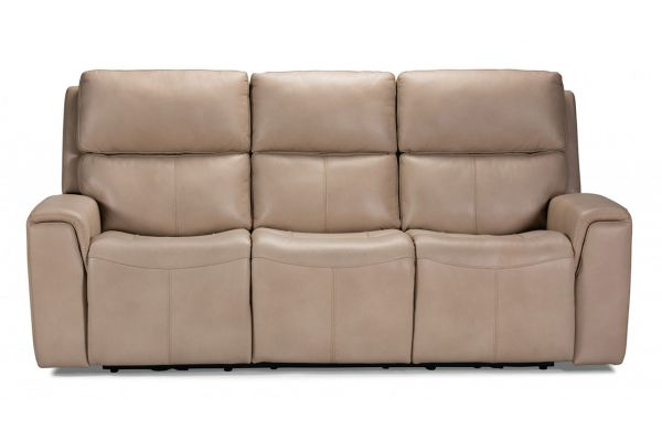 Large image of Flexsteel Jarvis Parchment Leather Power Reclining Sofa With Power Headrests - 1828-62PH-009-12