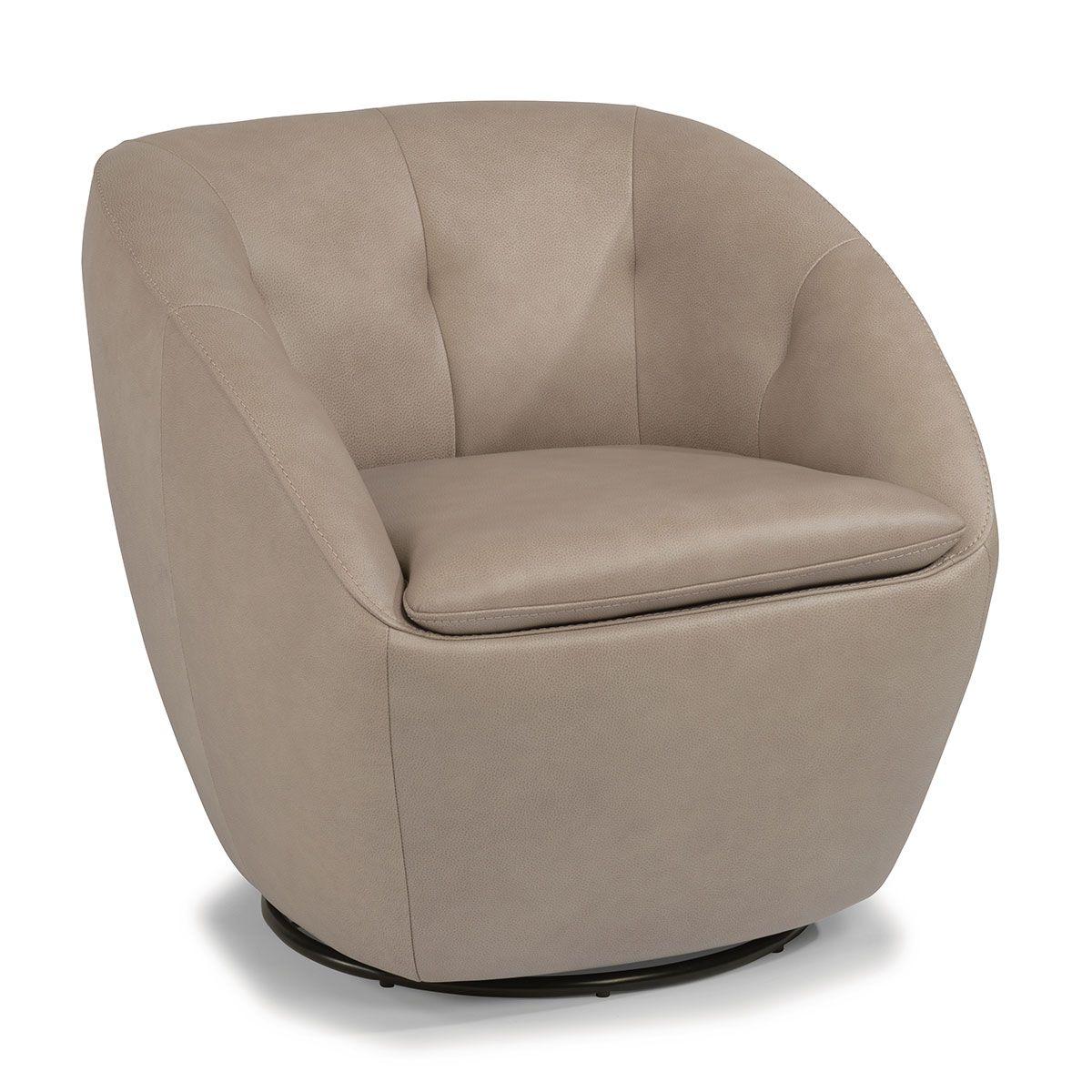 Flexsteel Wade Pebble Leather Swivel Chair