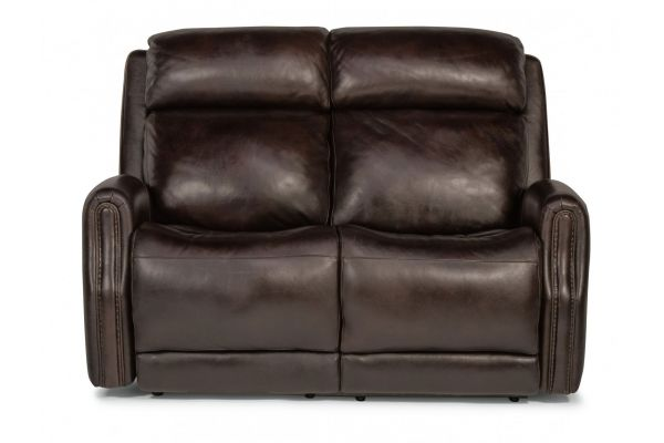 Large image of Flexsteel Stanley Leather Power Reclining Loveseat With Power Headrests - 1897-60PH-077-70