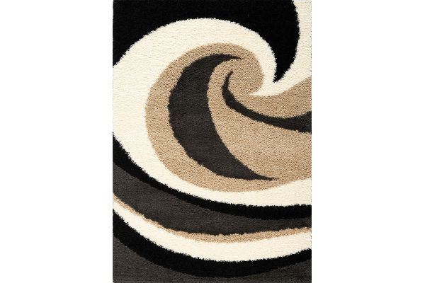 "Large image of Kalora Shaggy 7'10"" X 10'6"" Beige Charcoal Wave Rug - 1950/23 240320"