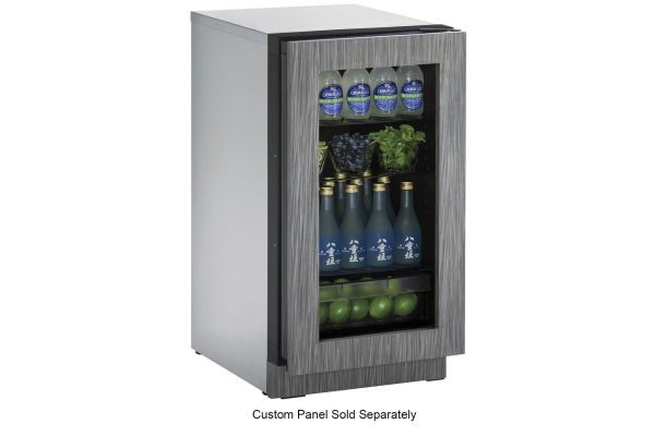 "Large image of U-Line 2218RGL 18"" Integrated Glass Door Compact Refrigerator - U-2218RGLINT-00B"