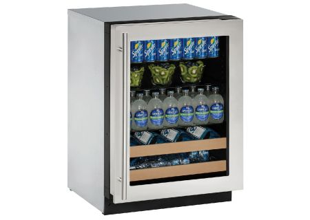 "U-Line 24"" Stainless Steel Frame Beverage Center  - U-2224BEVS-13B"