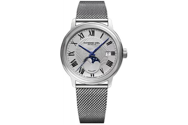 Large image of Raymond Weil Maestro Moon Phase Silver Dial Automatic Mens Watch - 2239MST00659