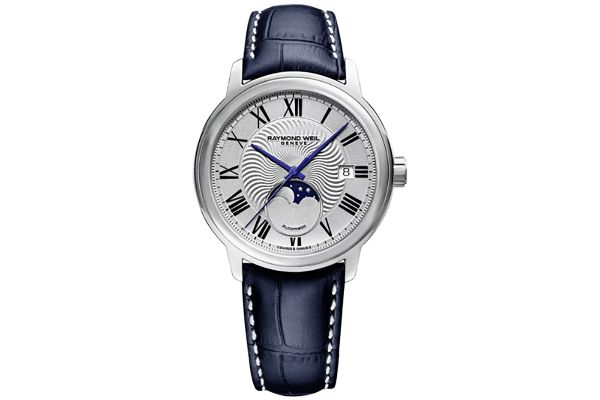 Large image of Raymond Weil Maestro Moon Phase Silver Dial Automatic Mens Watch - 2239STC00659
