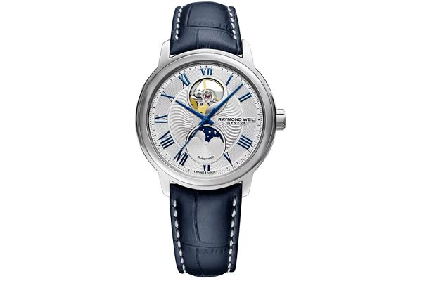 Large image of Raymond Weil Maestro Moon Phase Silver Dial Automatic Mens Watch - 2240STC00655