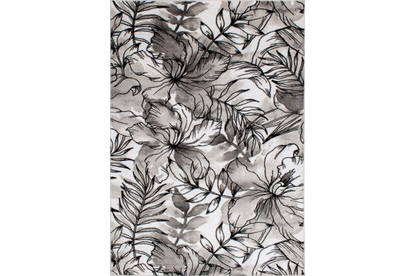 "Large image of Kalora Platinum 5'3"" X 7'7"" Grey White Fronds Flowers Rug - 2666/68 160230"