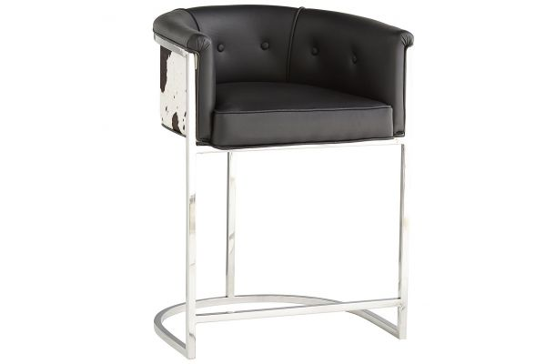 Large image of Arteriors Calvin Black And White Hide Counter Stool - 2763