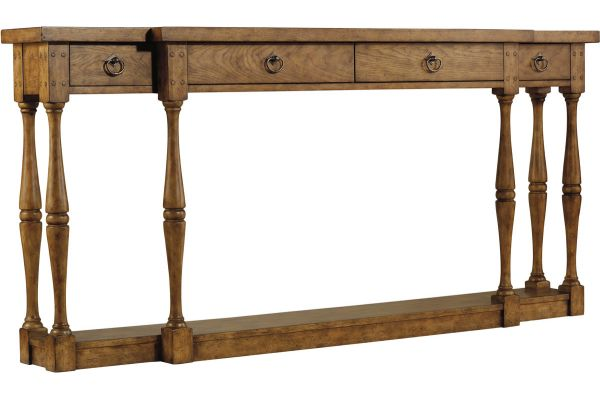 Large image of Hooker Furniture Medium Wood Living Room Sanctuary Four-Drawer Thin Console - Drift - 3001-85001