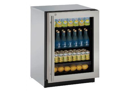 "U-Line 24"" Stainless Steel Glass Door Compact Refrigerator - U-3024RGLS-15B"