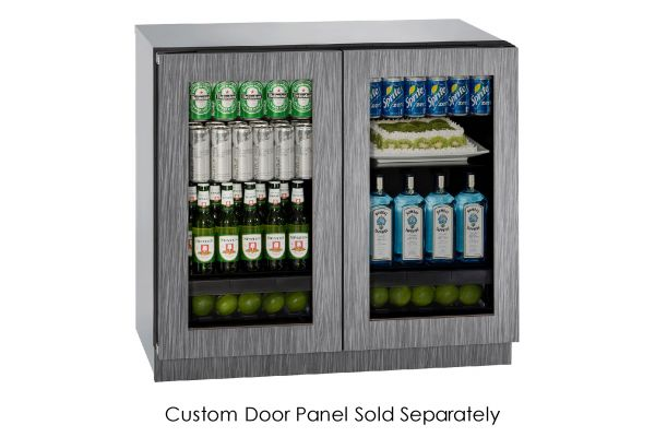 """Large image of U-Line 36"""" Panel Ready Integrated Double Glass Door Compact Refrigerator - U-3036RRGLINT-00B"""