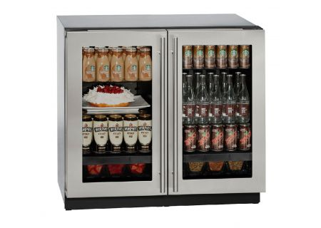 """U-Line 36"""" Stainless Steel Double Glass Door Compact Refrigerator - U-3036RRGLS-00B"""