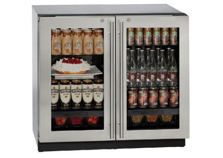 """U-Line 36"""" Stainless Steel Double Glass Door Compact Refrigerator - U-3036RRGLS-13B"""