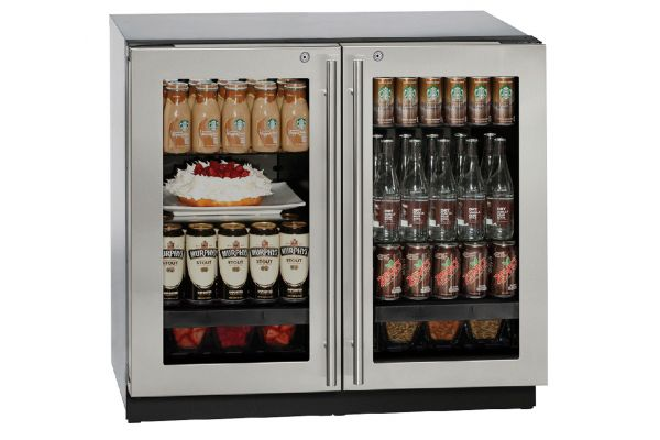 "Large image of U-Line 36"" Stainless Steel Double Glass Door Compact Refrigerator - U-3036RRGLS-13B"