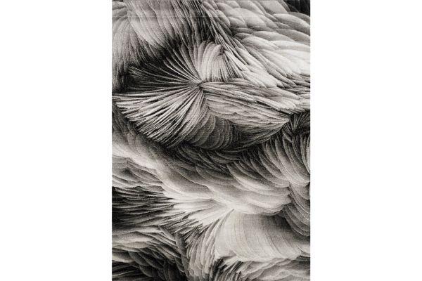 """Large image of Kalora Platinum 6'7"""" X 9'6"""" Grey Black Feathers Rug - 3365/16 200290"""