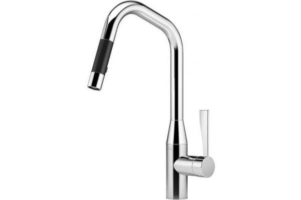 Large image of Dornbracht Chrome Tara Ultra Single Lever Mixer Pull-Down Spray Faucet - 33875895-000010