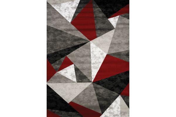 "Large image of Kalora Platinum 2'8"" X 4'11"" Red/Grey/Black Triangles Rug - 3397/51 80150"