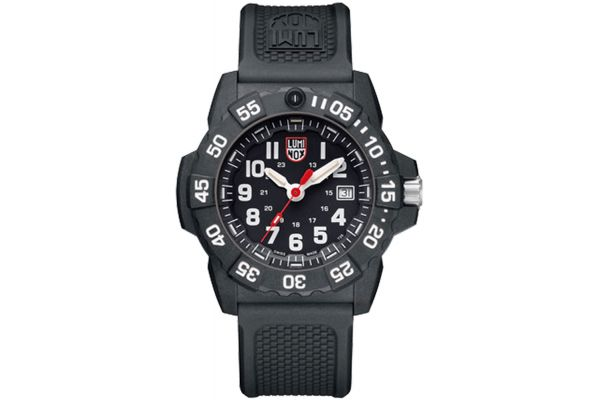 Large image of Luminox 45mm Navy SEAL Black Stainless Steel Mens Watch - 3501