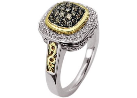 Charles Krypell Pave Sterling Silver & Gold Brown Diamond Ring - 3-6463-SBRP