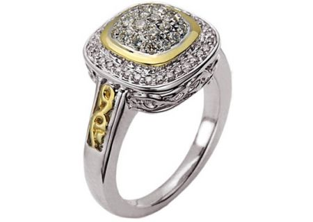 Charles Krypell Pave Sterling Silver & Gold Diamond Ring - 3-6463-SWHTP